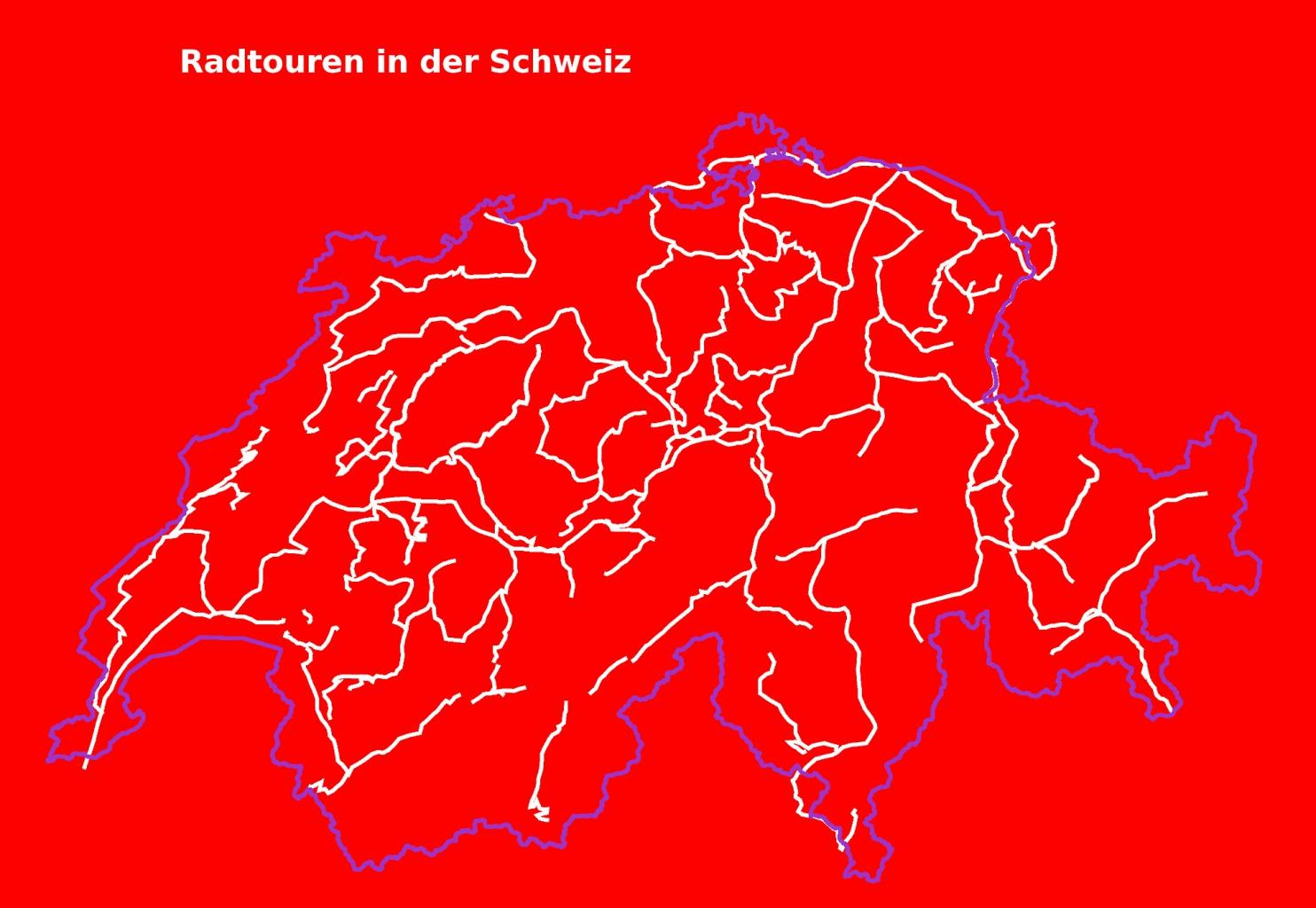 Karte mit Fahrradtouren Schweiz